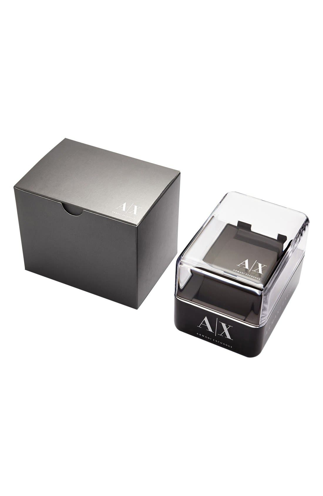 Alternate Image 2  - AX Armani Exchange Round Leather Strap Watch, 30mm