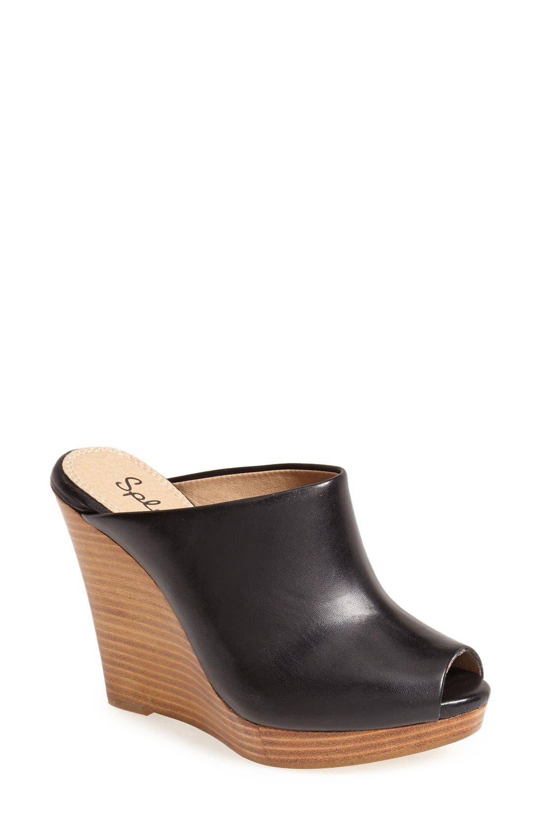 'Brooklin' Open Toe Mule,                         Main,                         color, Black Soft Vintage Leather
