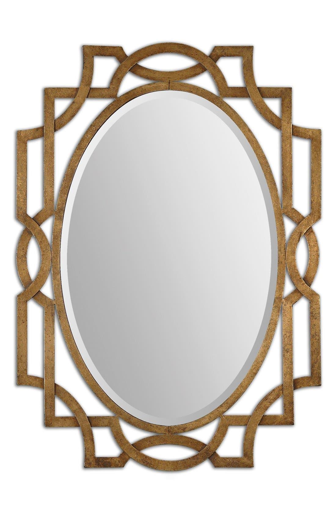 'Margutta' Antiqued Goldtone Oval Mirror,                         Main,                         color, Gold
