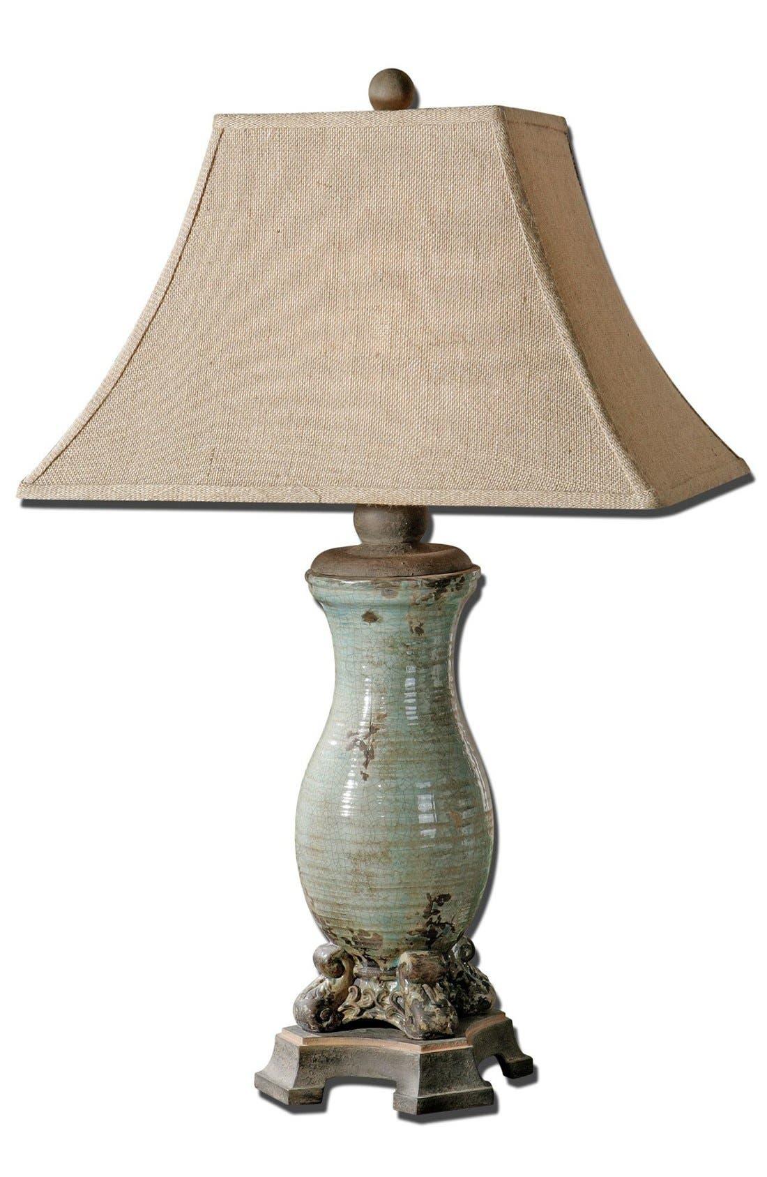 'Andelle' Glazed Ceramic Table Lamp,                             Main thumbnail 1, color,                             Blue