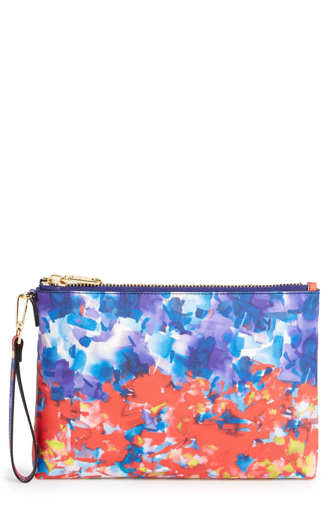 Main Image - Milly 'Watercolor' Faux Leather Wristlet Clutch