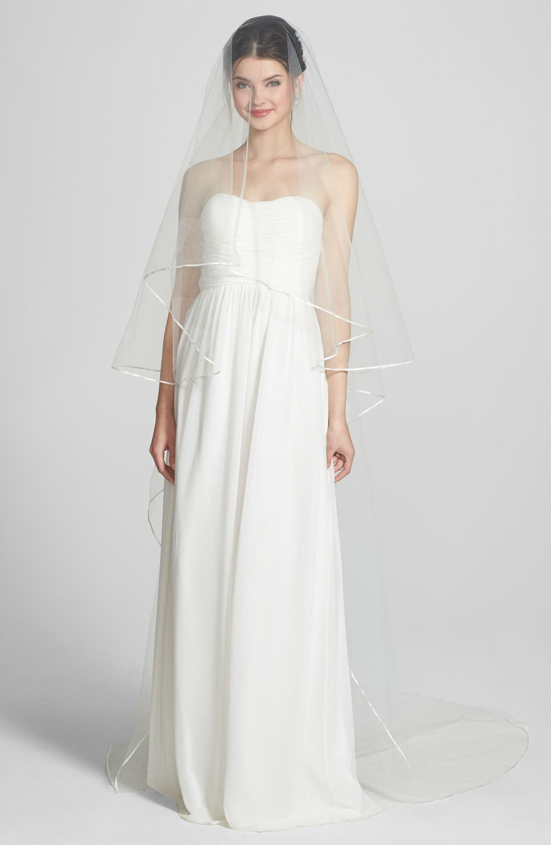 'Mable' Two-Tier Satin Trim Cathedral Veil,                             Main thumbnail 1, color,                             Ivory