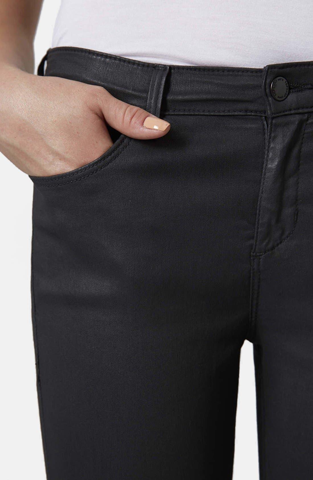 Moto 'Leigh' Coated Skinny Jeans,                             Alternate thumbnail 4, color,                             Black