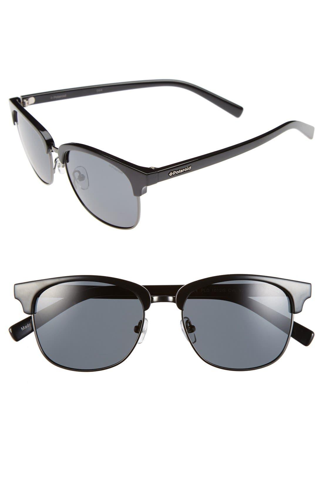 55mm Polarized Sunglasses,                             Main thumbnail 1, color,                             Dark Ruthenium Black