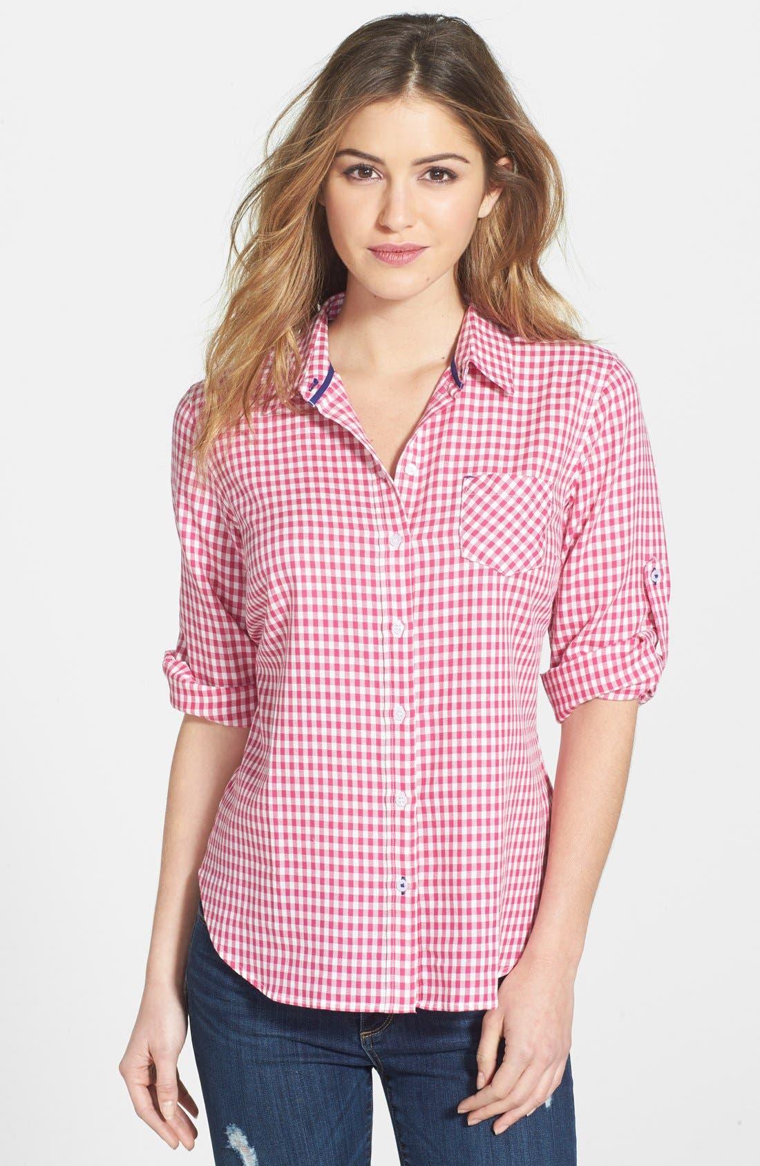 Alternate Image 1 Selected - Sandra Ingrish Mini Gingham Twill Shirt (Regular & Sale)