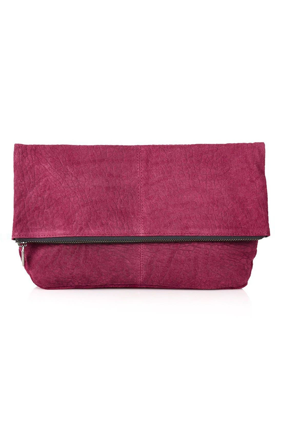 Alternate Image 1 Selected - Topshop Snakeskin Embossed Suede Clutch
