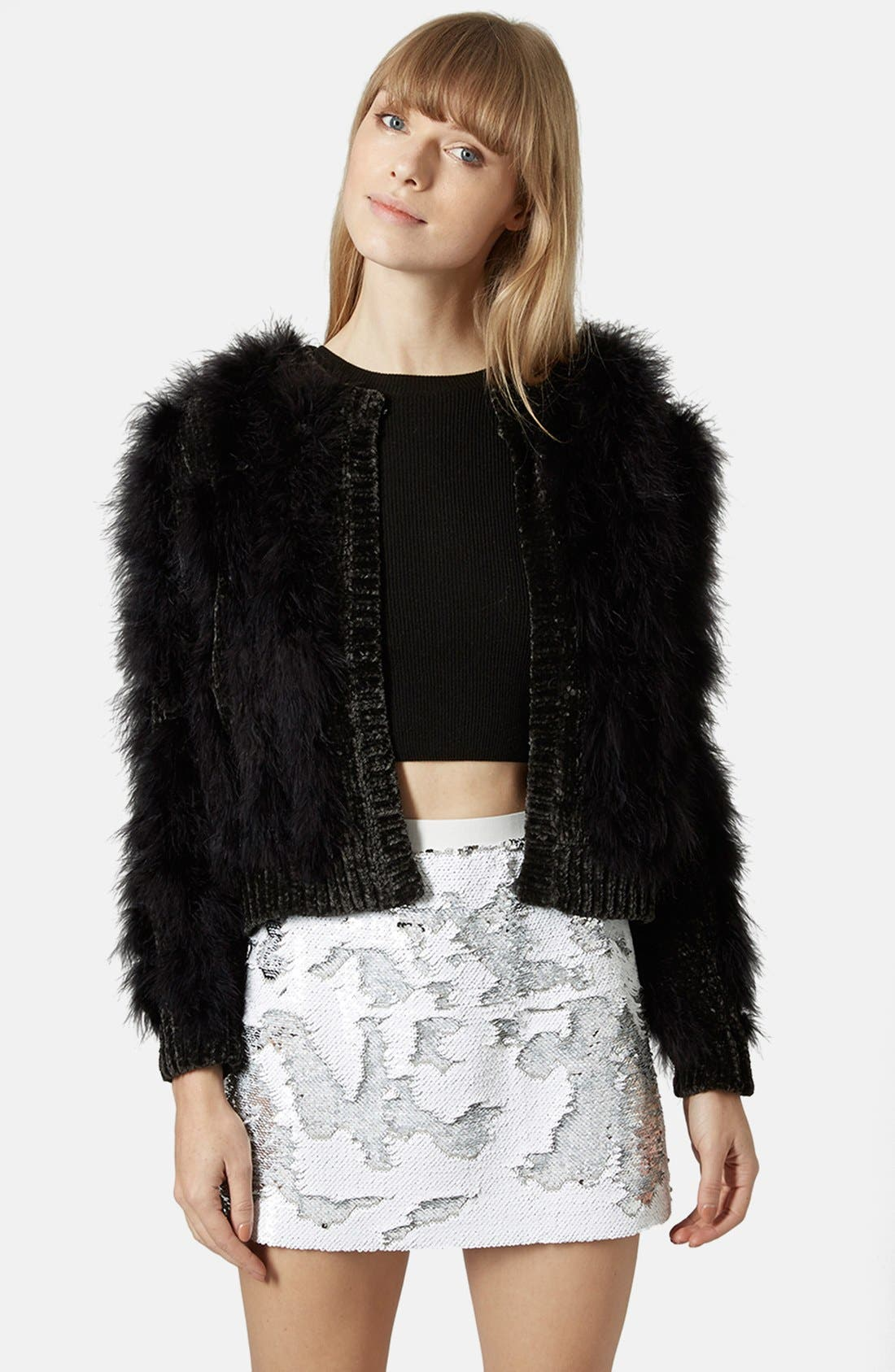 Alternate Image 1 Selected - Topshop Chenille Marabou Cardigan