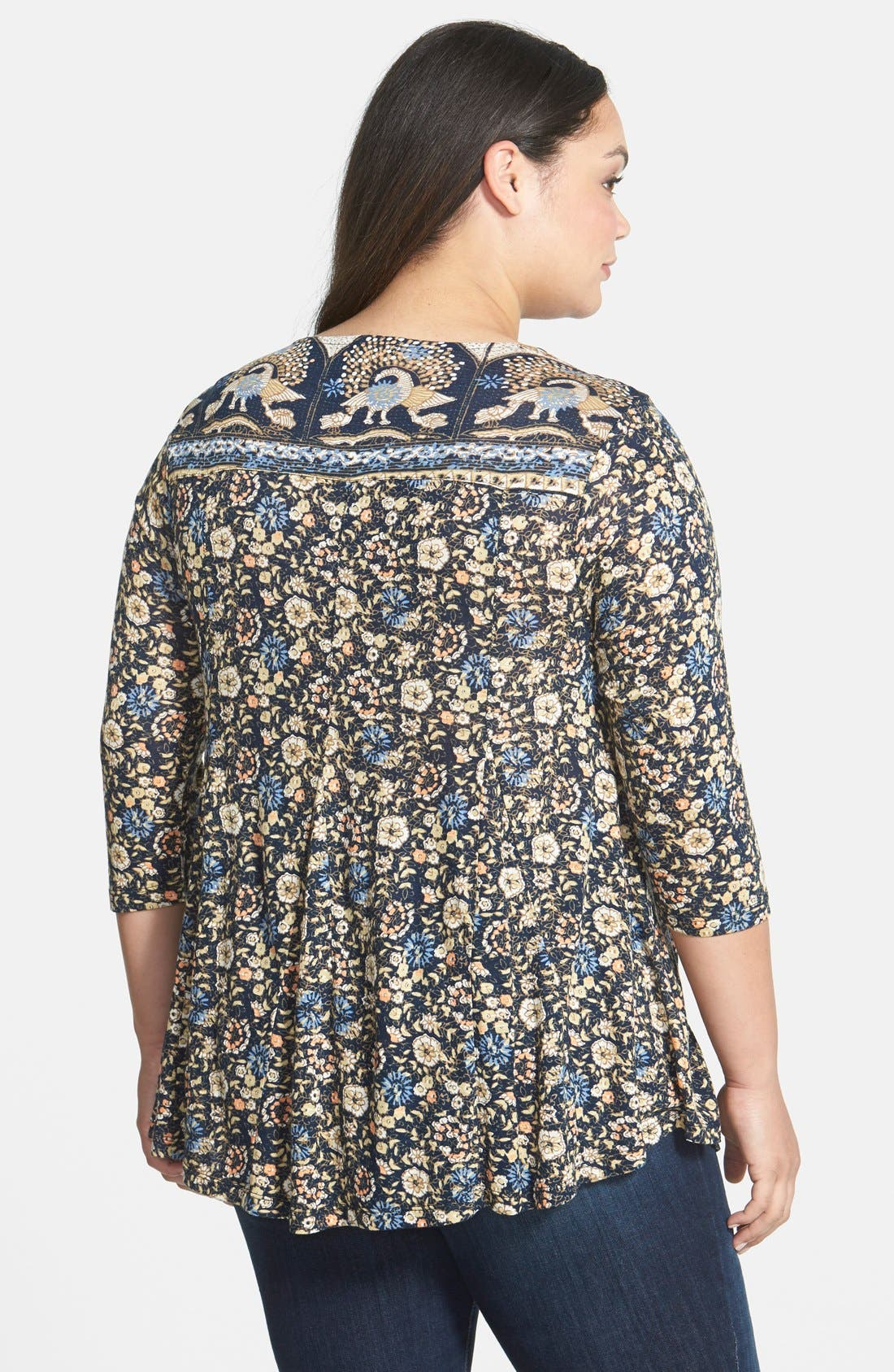 Alternate Image 2  - Lucky Brand Border Print Scoop Neck Top (Plus Size)