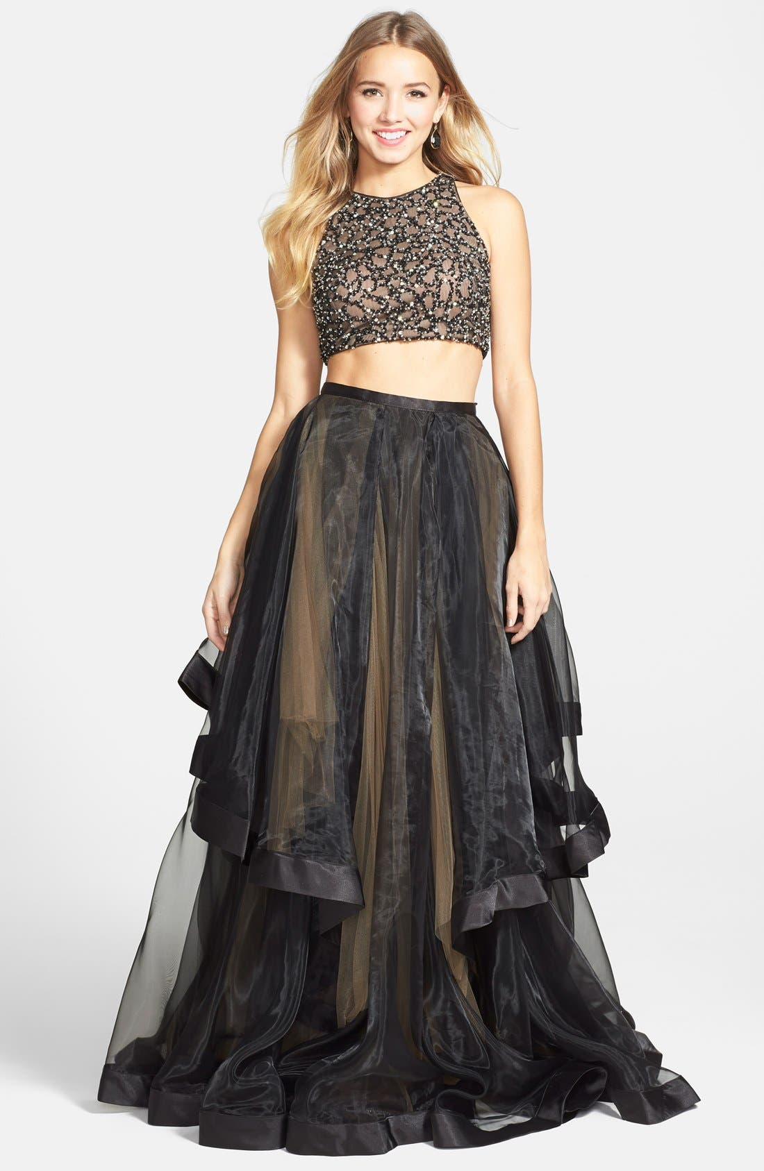 Terani Couture Beaded Top Amp Organza Two Piece Ballgown