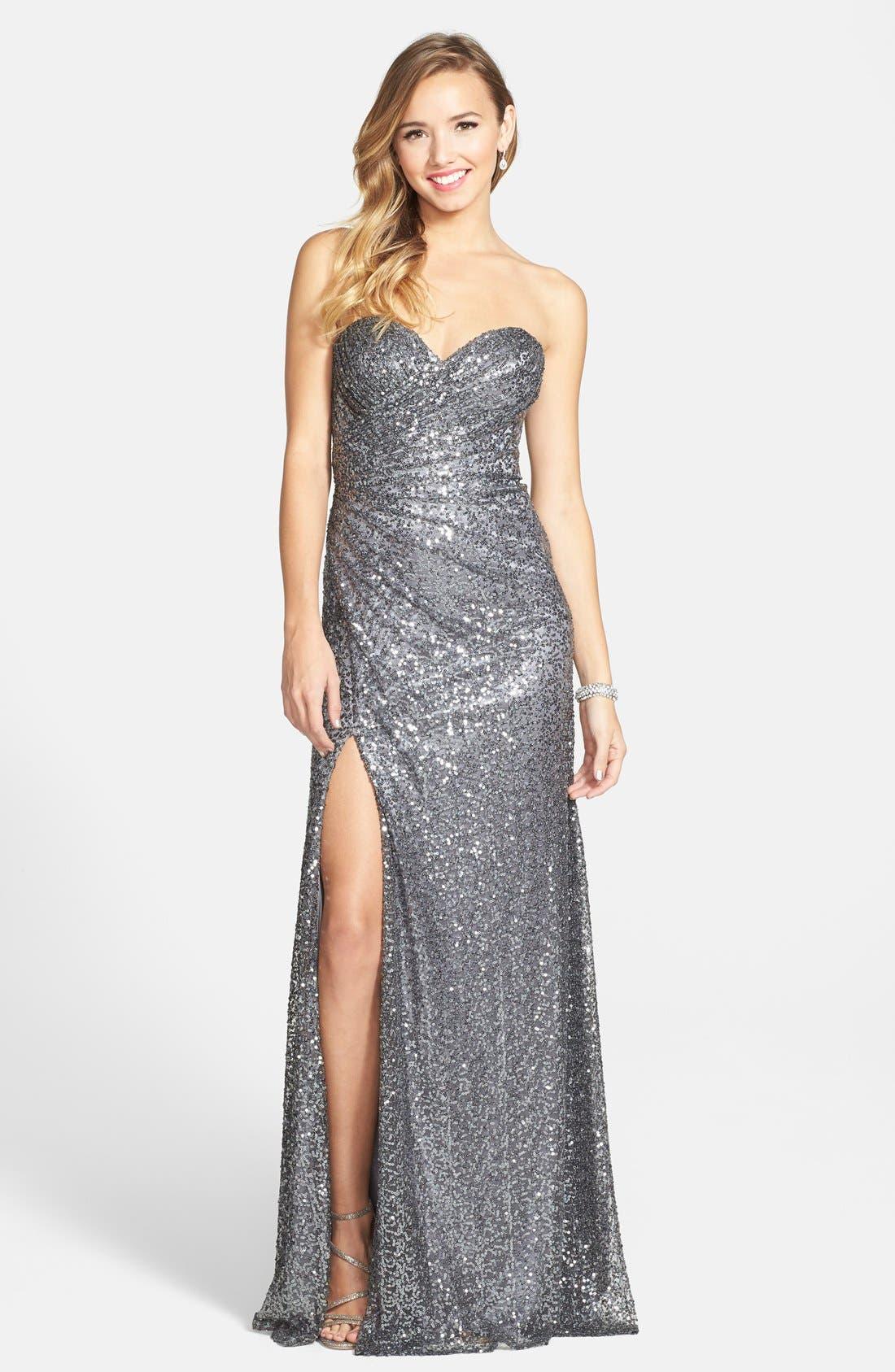 Main Image - La Femme Strapless Sequin Gown