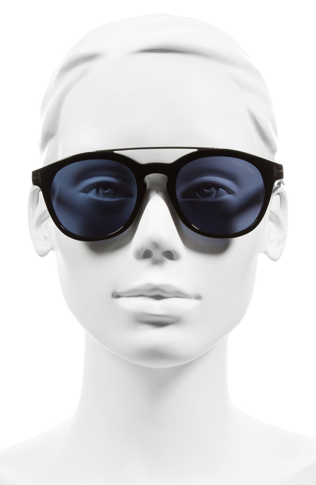 Newman 53mm Sunglasses,                             Alternate thumbnail 2, color,                             Black/ Rhodium/ Blue