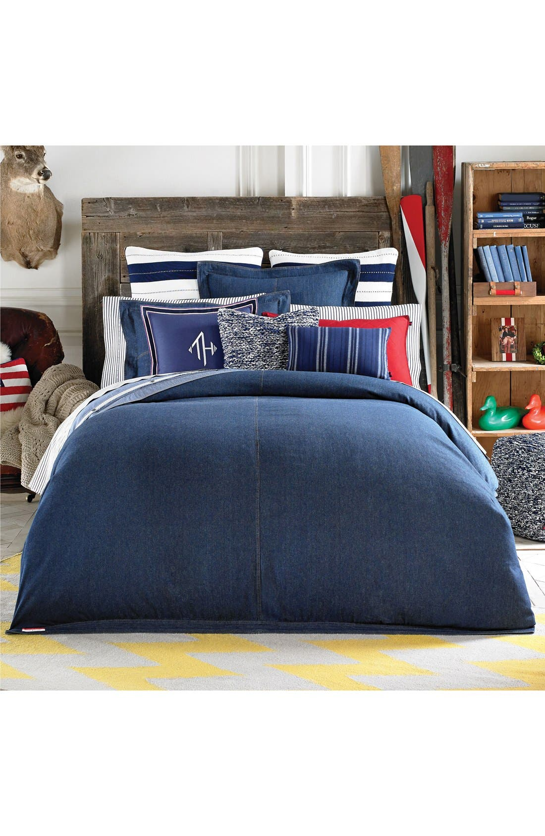 Denim Comforter,                         Main,                         color, Navy