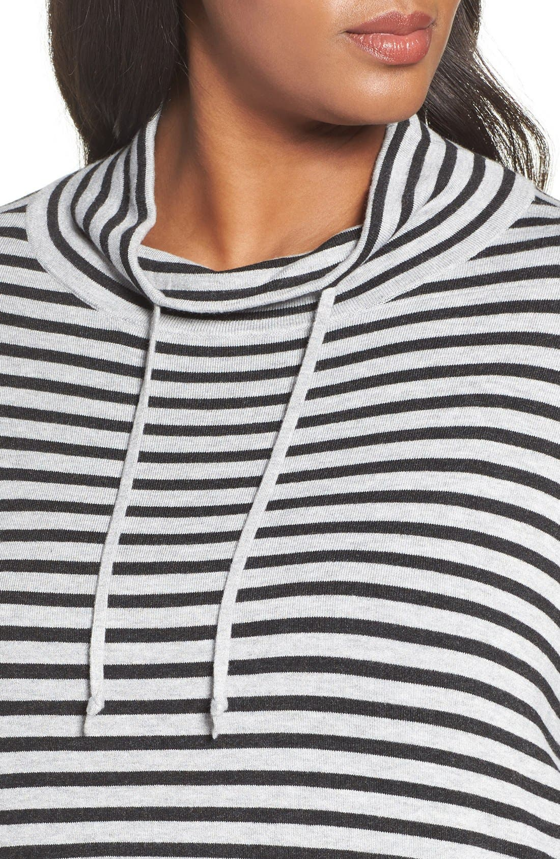 Alternate Image 4  - Eileen Fisher Stripe Funnel Neck Pullover (Plus Size)