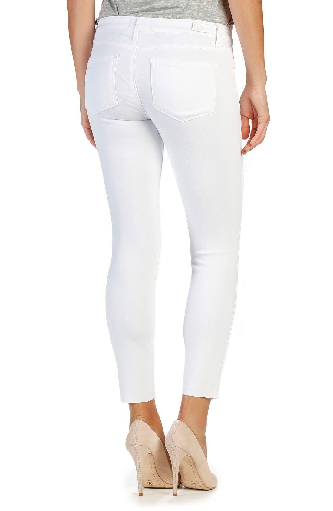 Transcend - Verdugo Ankle Skinny Jeans,                             Alternate thumbnail 2, color,                             White Cloud Destructed