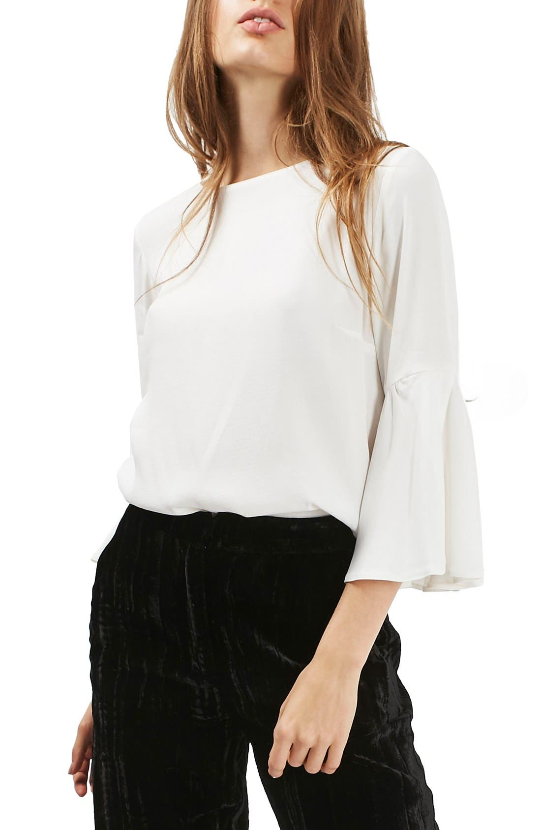 Alternate Image 1 Selected - Topshop Trumpet Sleeve Blouse