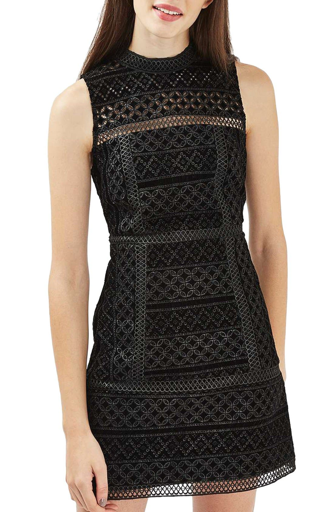 Main Image - Topshop Cutout Velvet Shift Dress