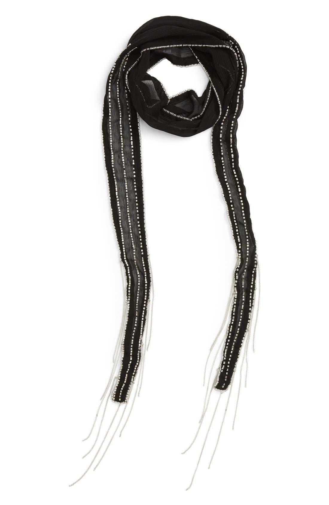TASHA Chain Fringe Skinny Scarf