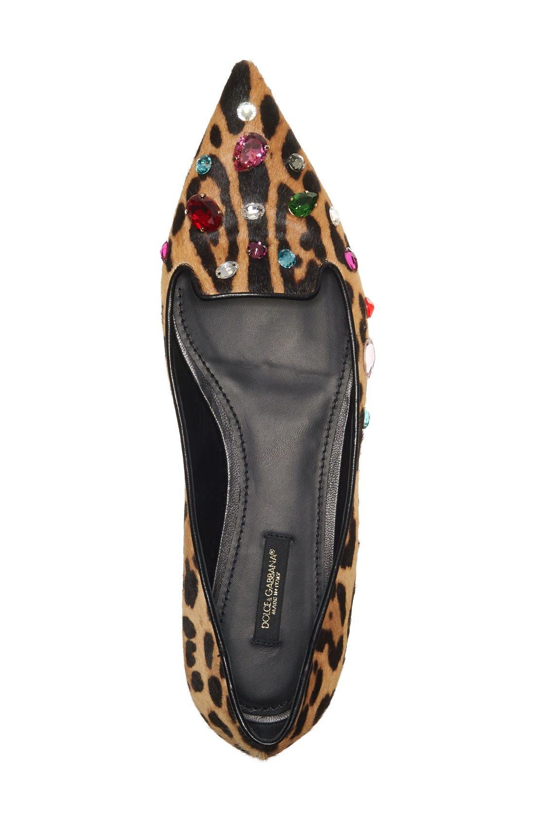 Alternate Image 3  - Dolce&Gabbana Leo Embellished Leopard Print Flat (Women)