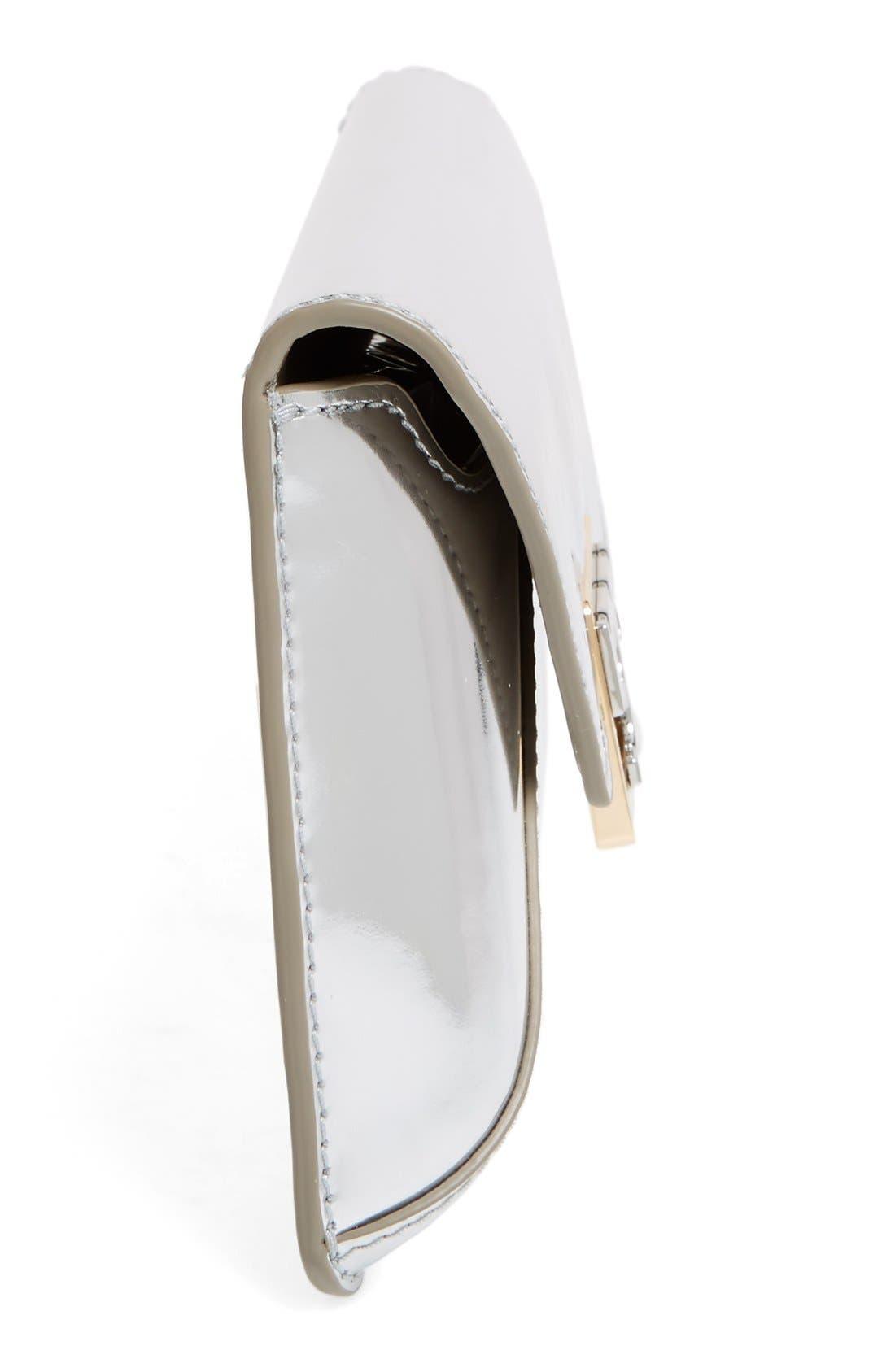 Gigi Metallic Leather Clutch,                             Alternate thumbnail 5, color,                             Silver Leather Standard