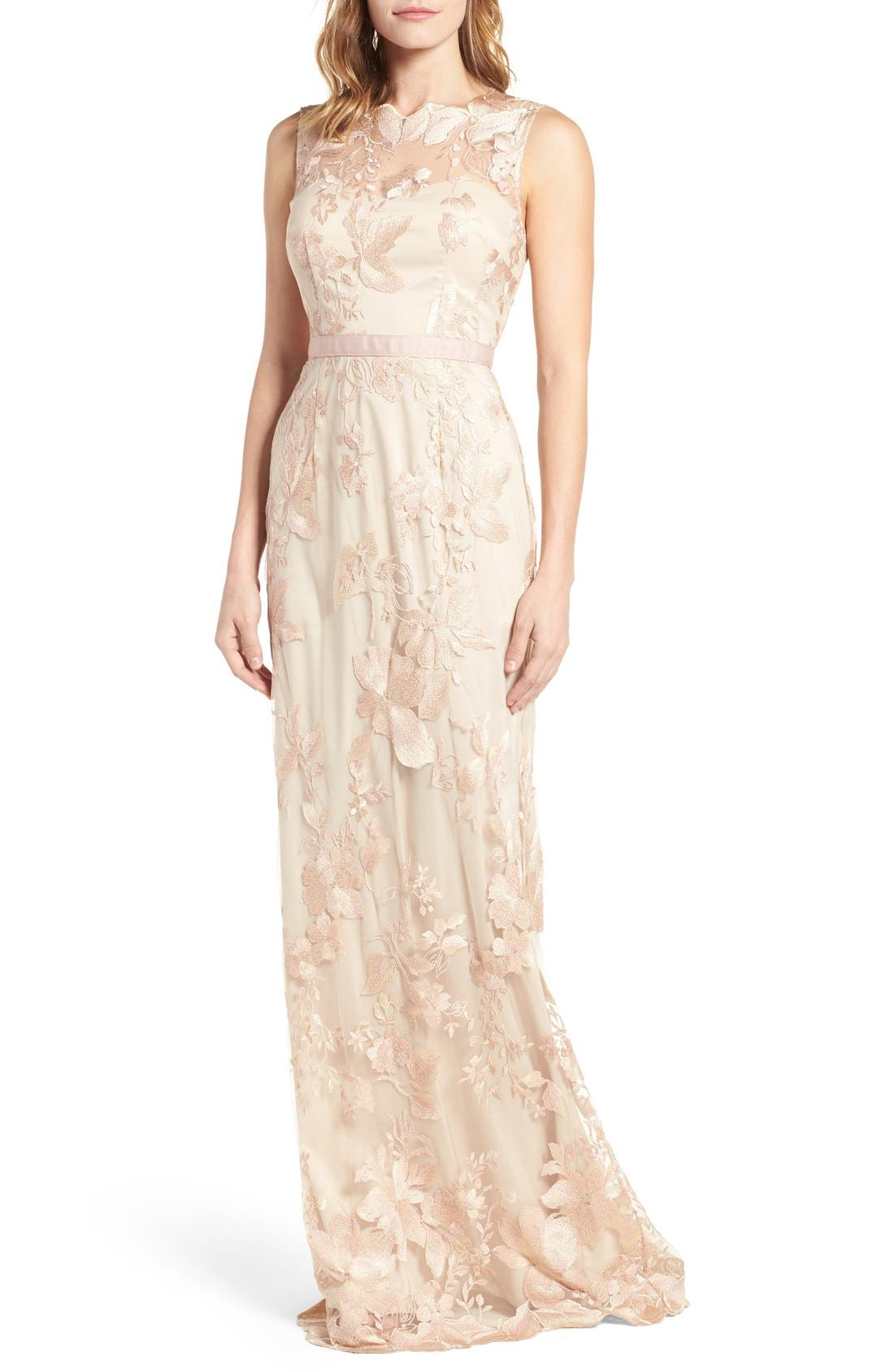 Sleeveless Embroidered Tulle Gown,                         Main,                         color, Blush/ Gold