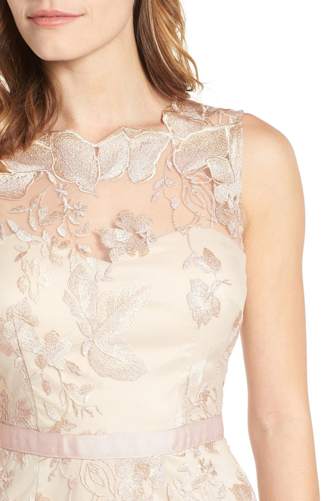 Alternate Image 4  - Adrianna Papell Sleeveless Embroidered Tulle Gown