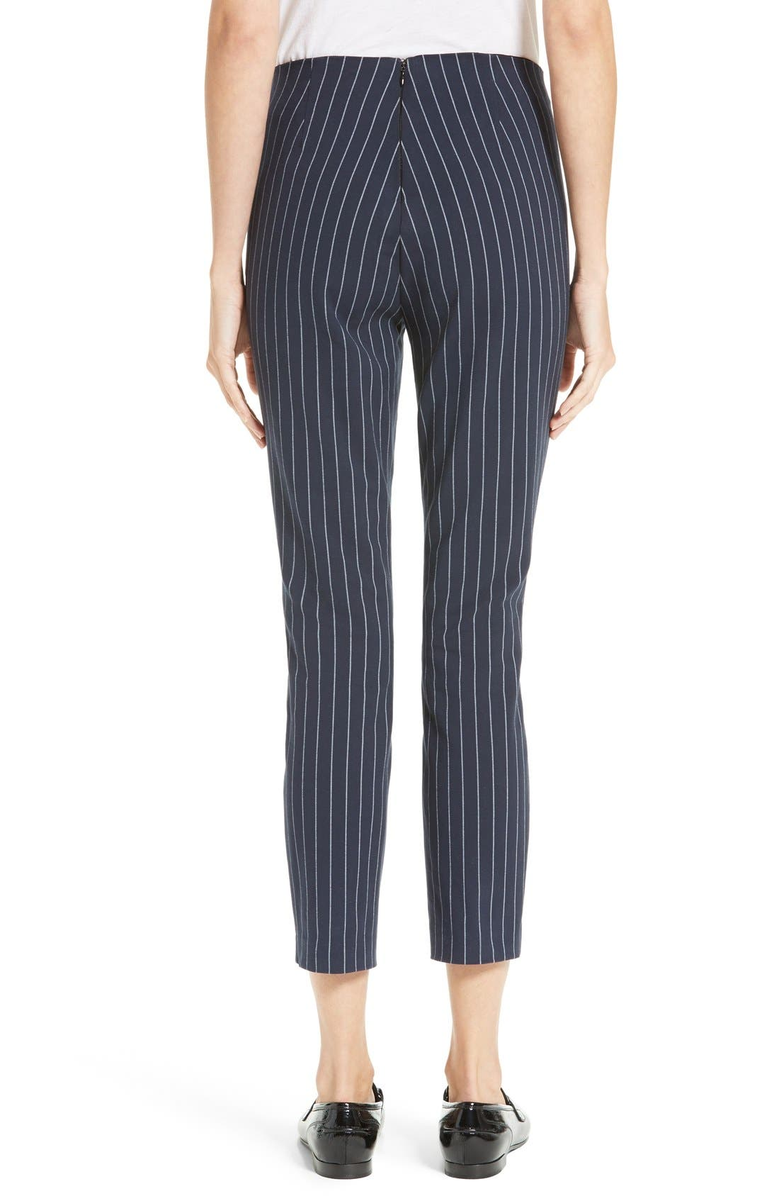 Simone Pinstripe Pants,                             Alternate thumbnail 3, color,                             Salute/ White
