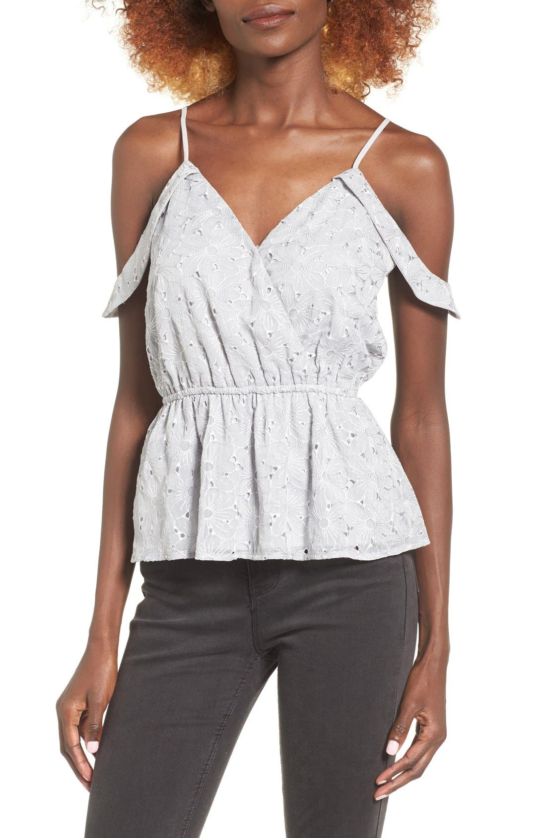 Main Image - Storee Off the Shoulder Peplum Tank