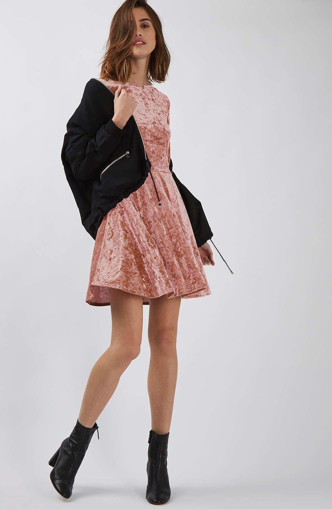 Crushed Velvet Dress,                             Alternate thumbnail 2, color,                             Pink