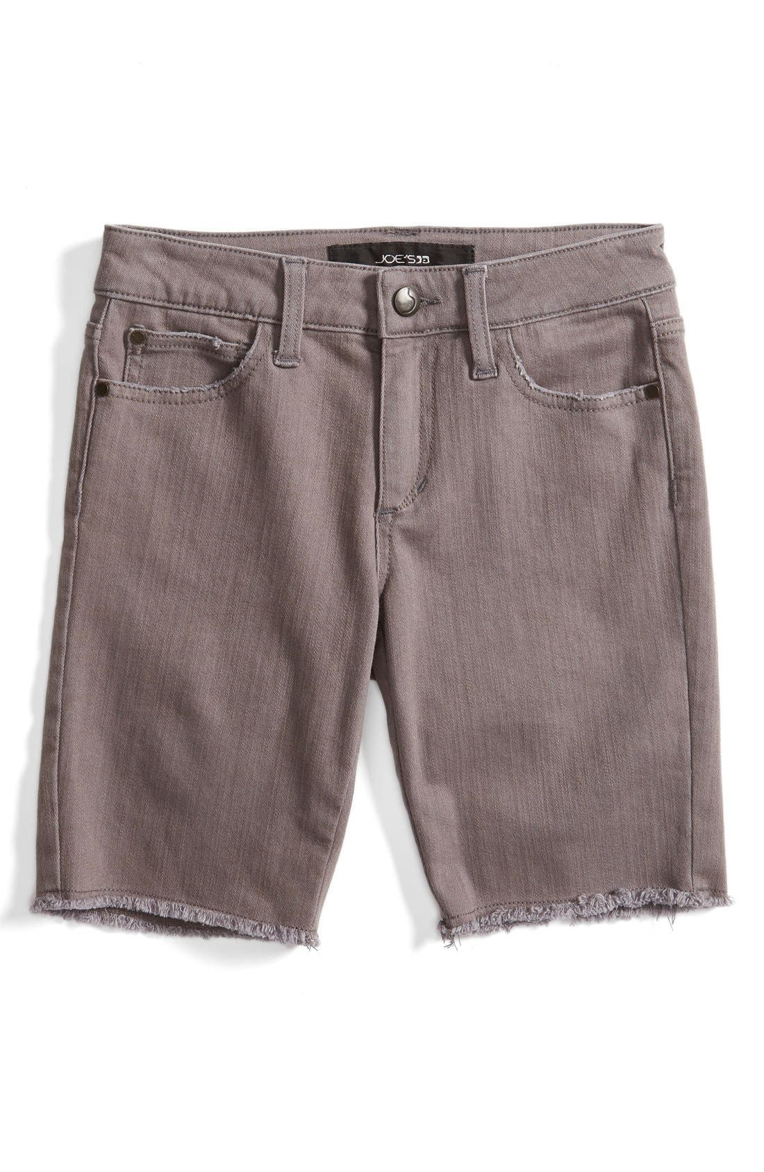 Frayed Hem Bermuda Shorts,                             Main thumbnail 1, color,                             Dark Grey