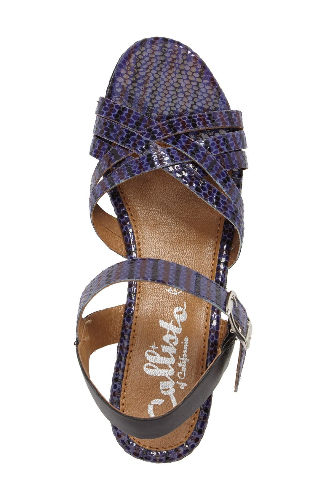 Valencia Platform Wedge Sandal,                             Alternate thumbnail 3, color,                             Blue Faux Leather