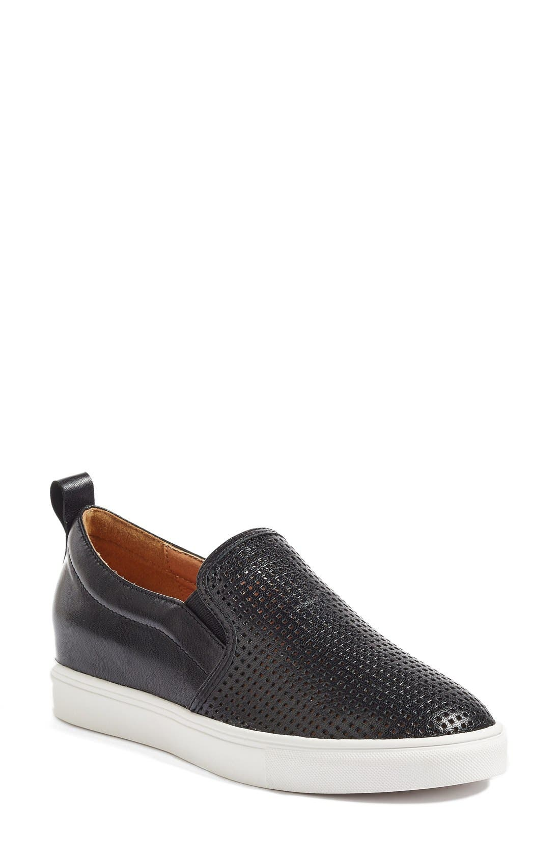 Eden Perforated Slip-On Sneaker,                             Main thumbnail 1, color,                             Black Leather