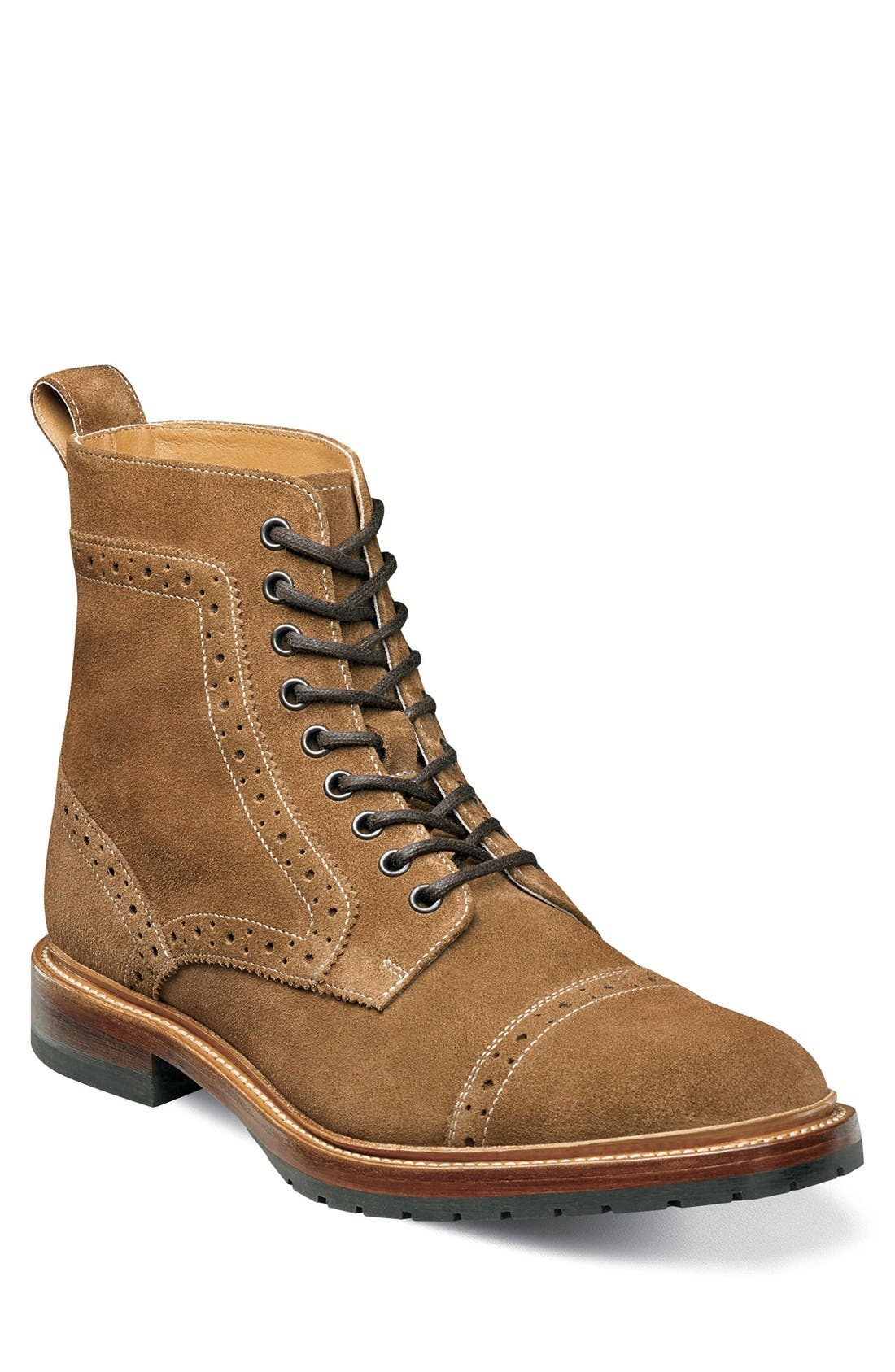 Madison II Cap Toe Lace Boot,                             Main thumbnail 1, color,                             Tan Suede