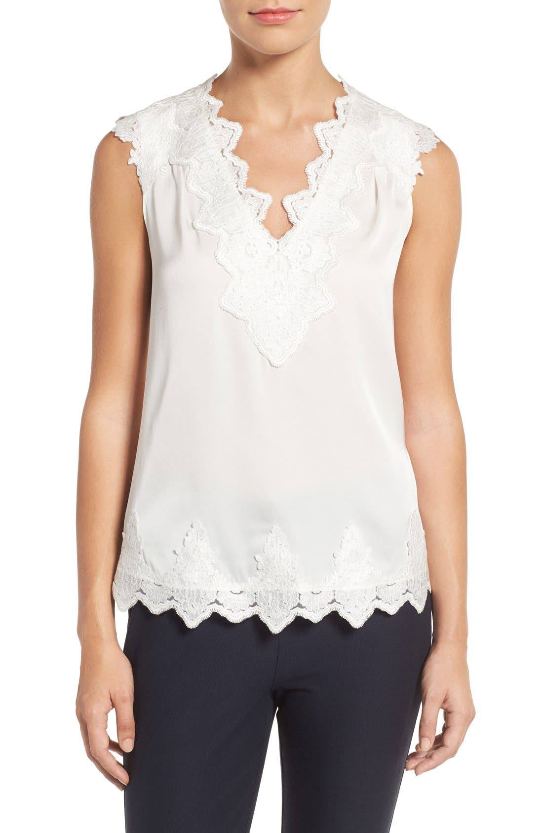 Main Image - Kobi Halperin Lana Lace Trim Stretch Silk Blouse