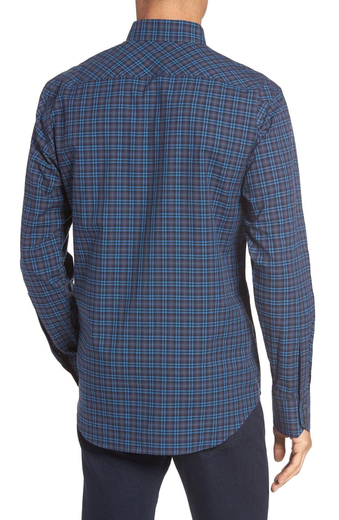 Adler Trim Fit Plaid Sport Shirt,                             Alternate thumbnail 2, color,                             Blue