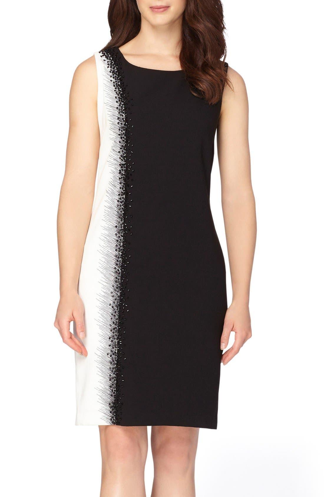 Embellished Sheath Dress,                             Main thumbnail 1, color,                             Black/ Ivory