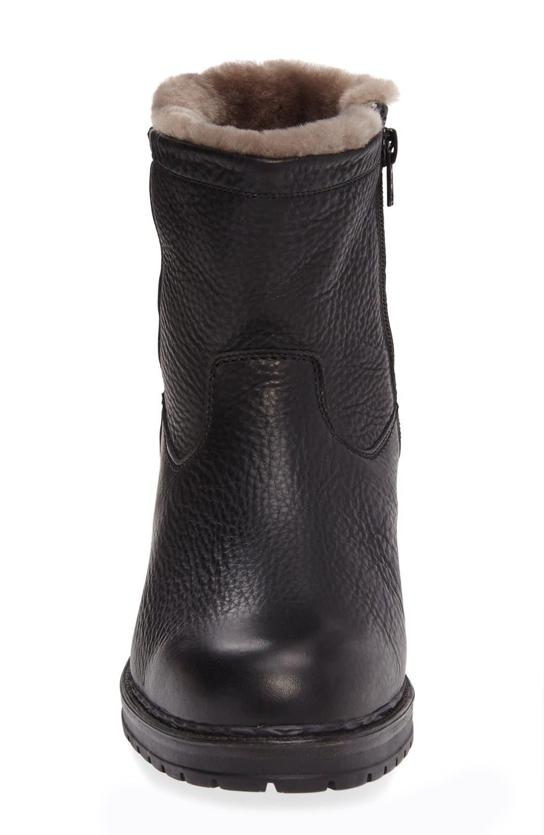 Leonardo Genuine Shearling Lined Boot,                             Alternate thumbnail 3, color,                             Black Montana