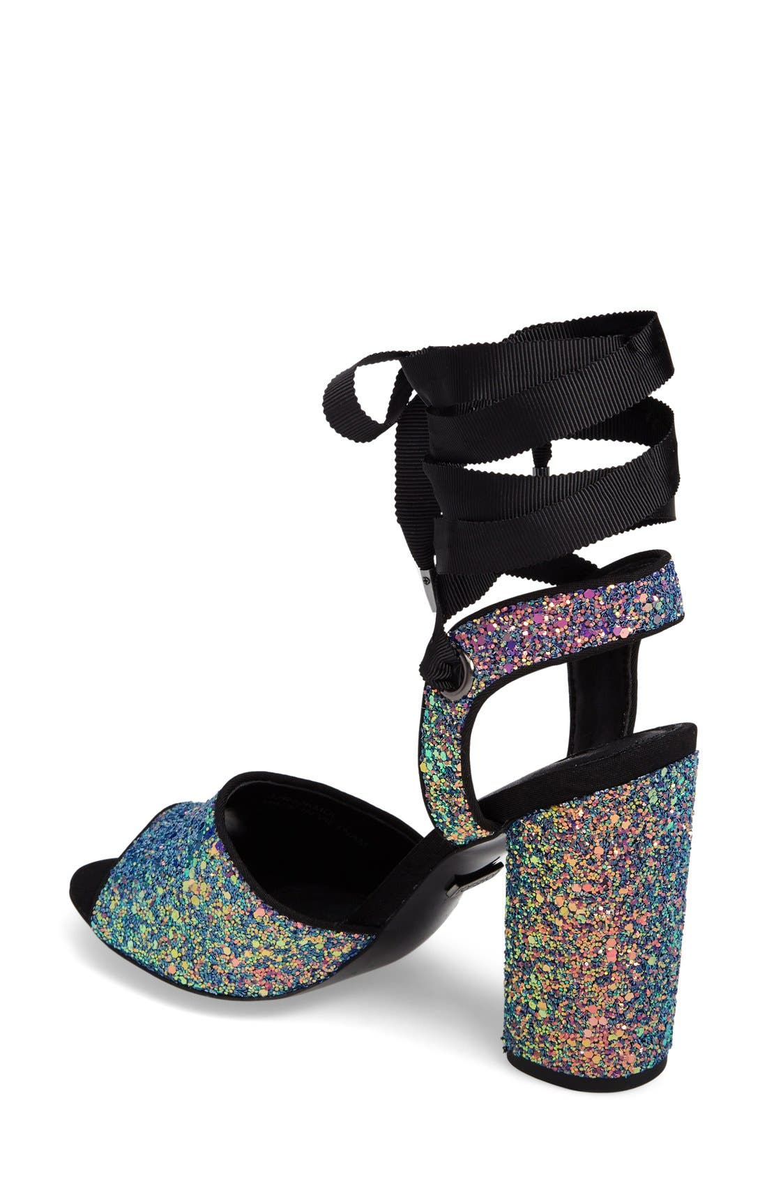 Alternate Image 2  - Topshop Royal Glitter Lace-Up Sandals (Women)