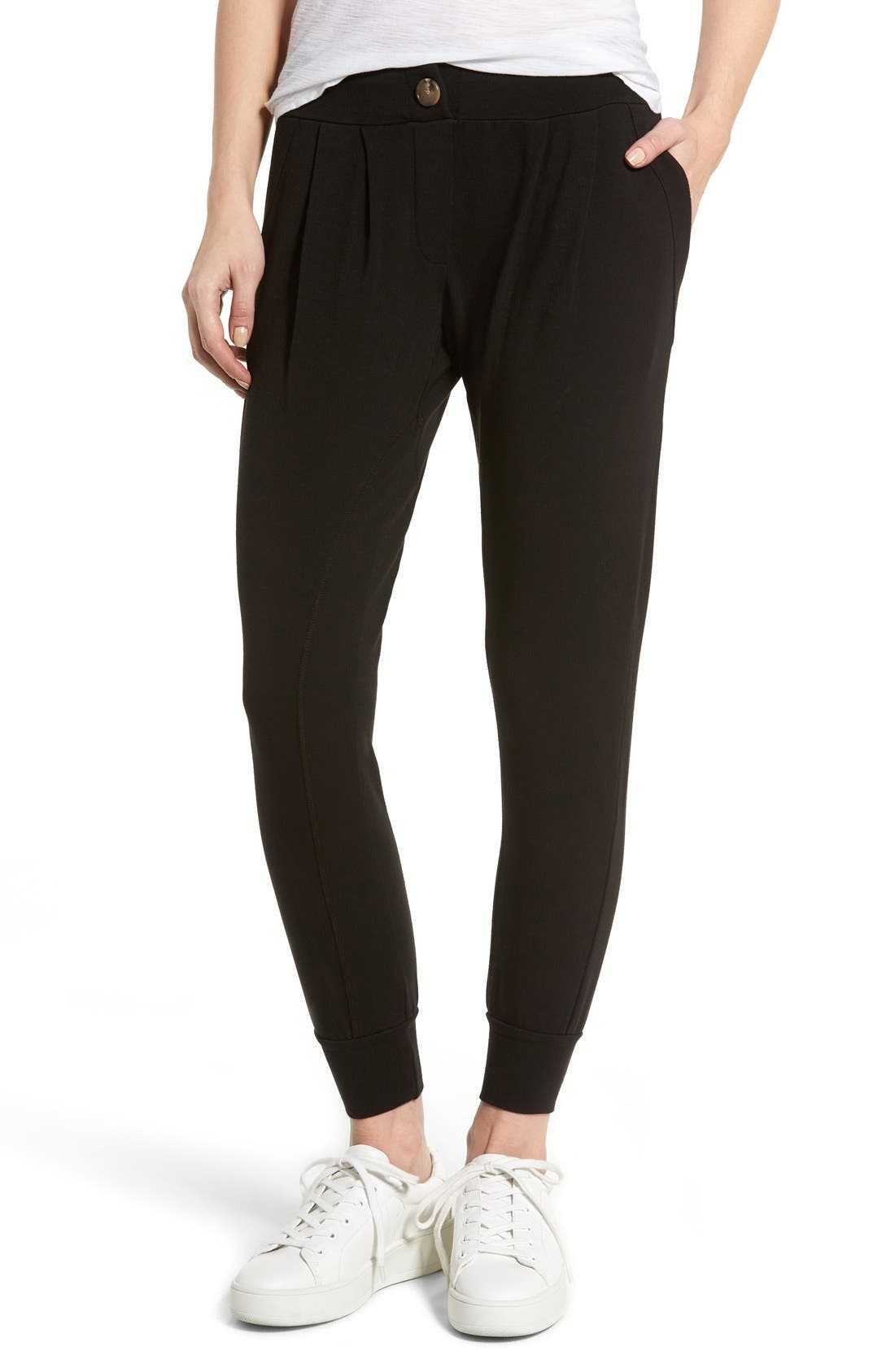 Jamie Stretch Jersey Jogger Pants,                             Main thumbnail 1, color,                             Black