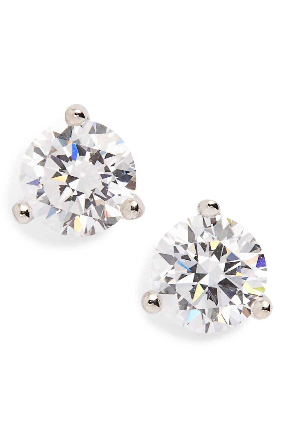 Alternate Image 1 Selected - Nordstrom Precious Metal Plated 1ct tw Cubic Zirconia Earrings