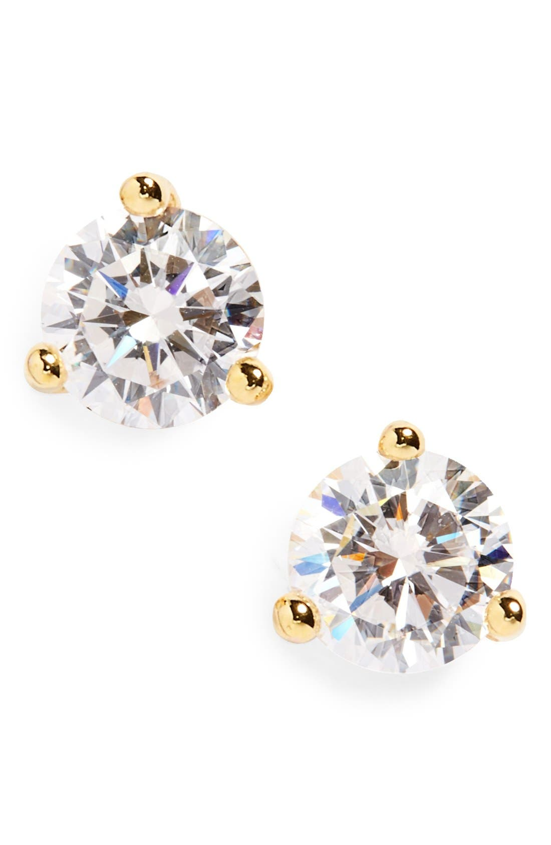 Round 0.50ct Cubic Zirconia Earrings,                         Main,                         color, Gold Vermeil