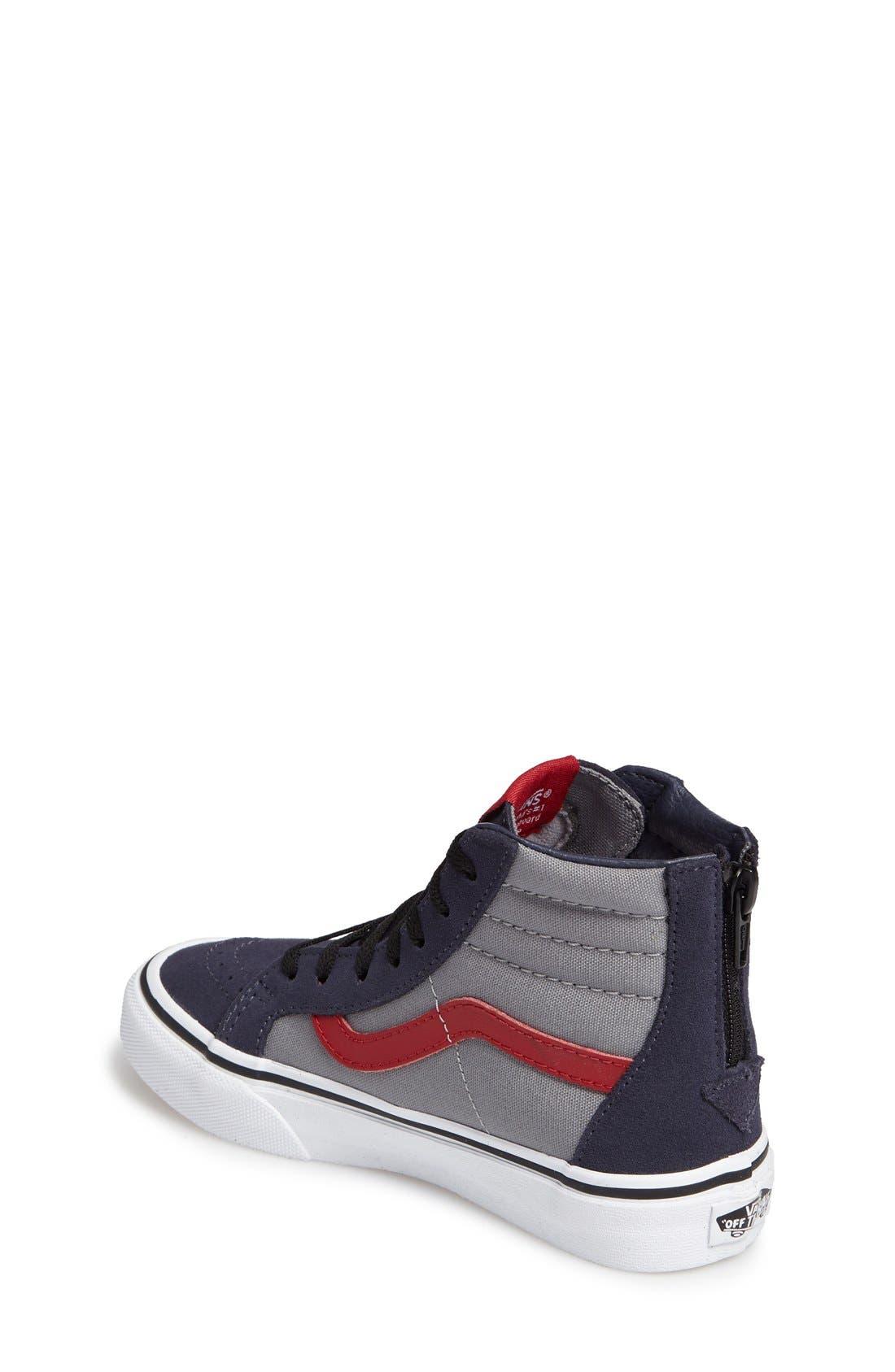 SK8-Hi Zip Pop Sneaker,                             Alternate thumbnail 2, color,                             Parisian Night/ Racing Red