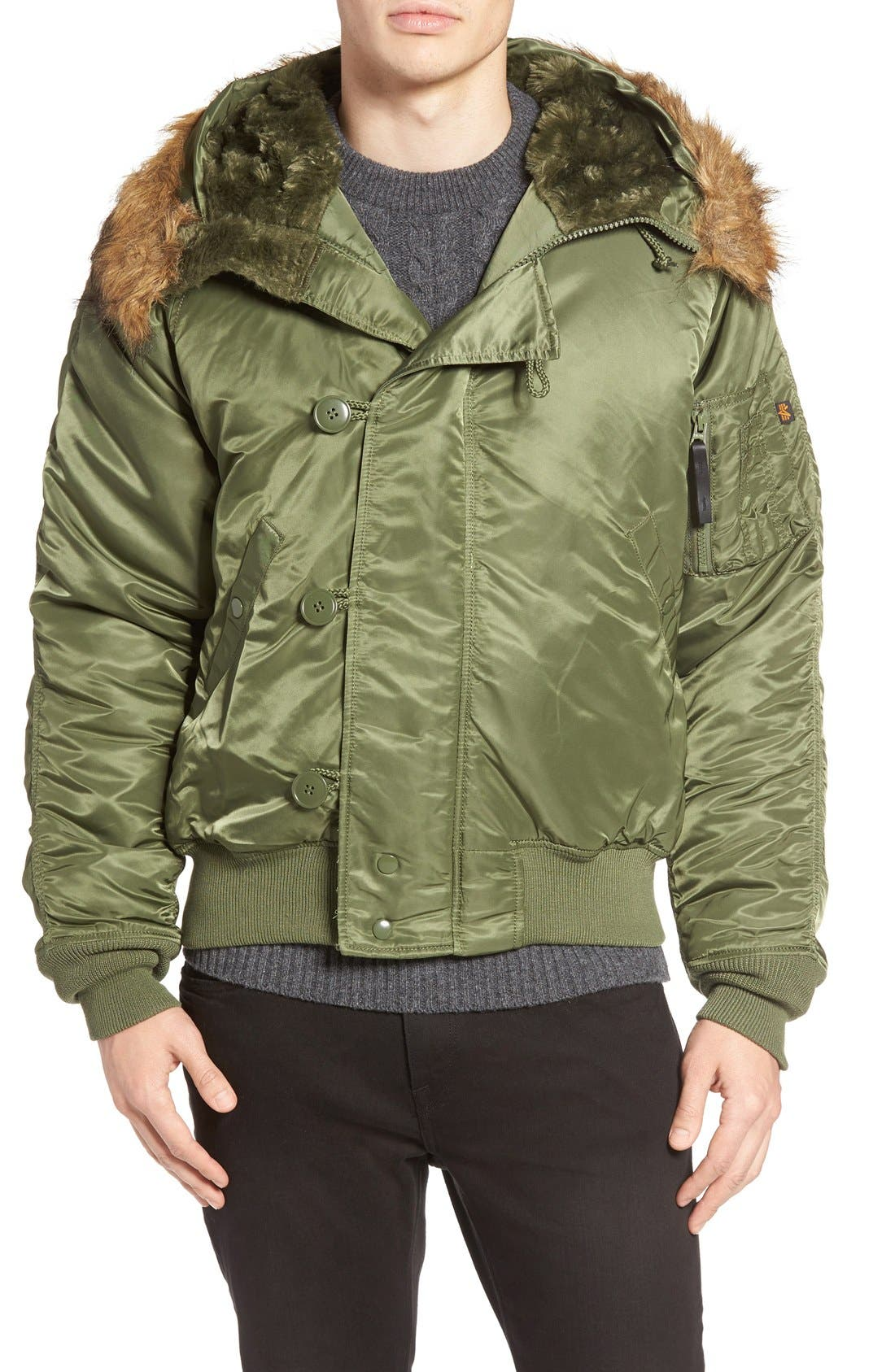 N-2B Short Hooded Parka,                             Alternate thumbnail 4, color,                             Sage Green