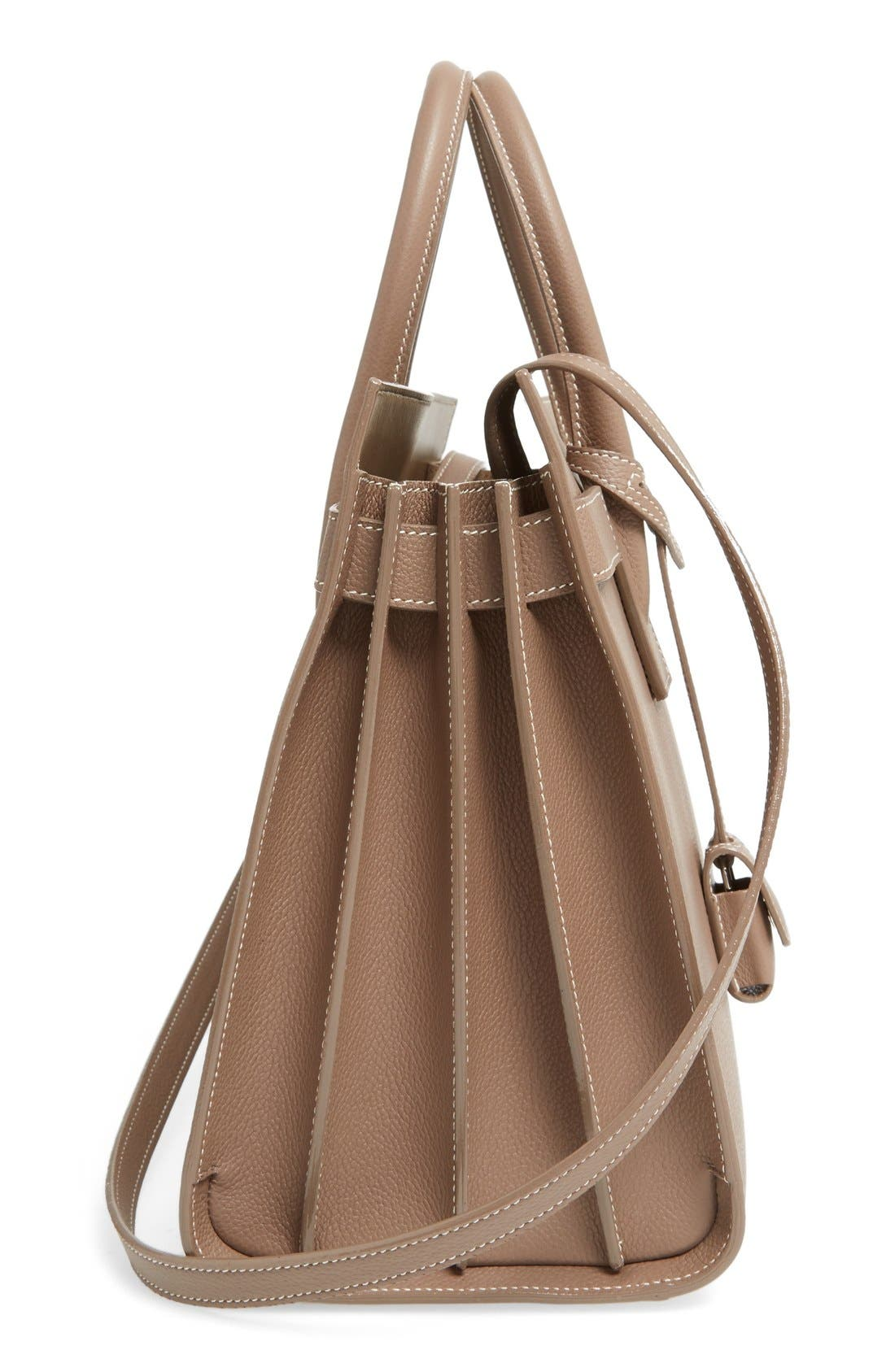 Small Sac de Jour Calfskin Leather Tote,                             Alternate thumbnail 5, color,                             Taupe/White