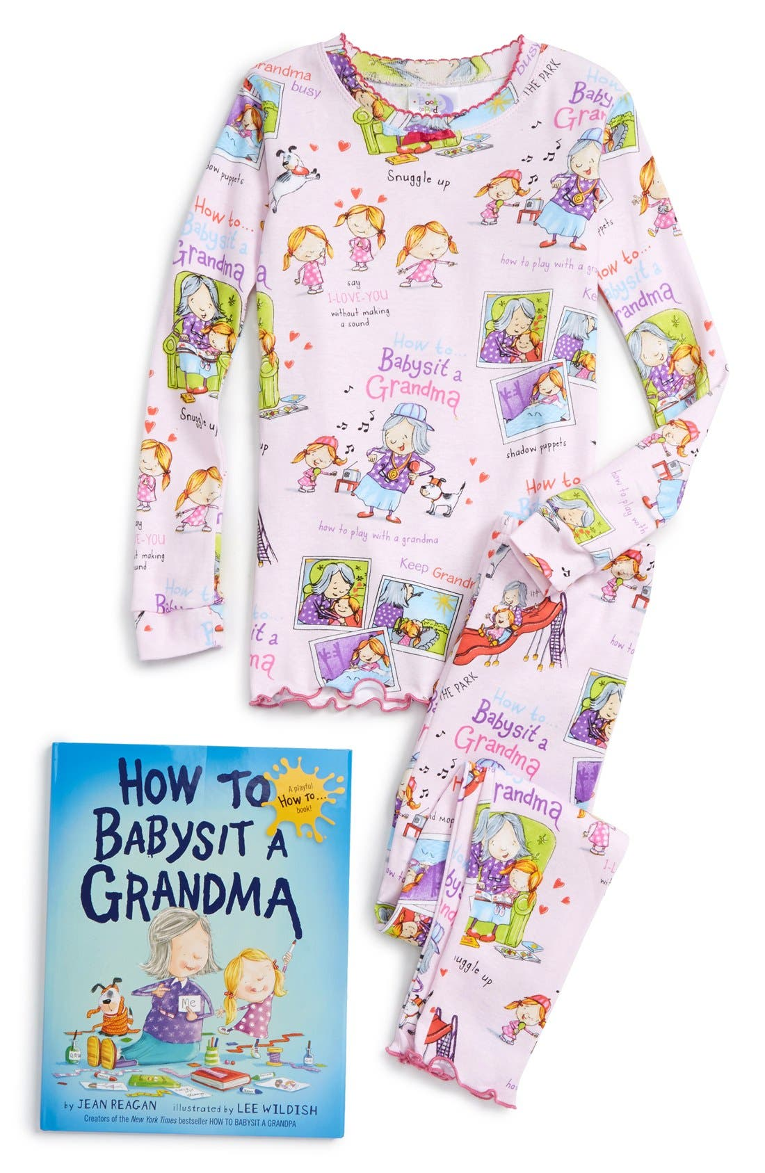 Main Image - Books to Bed How to Babysit a Grandma Fitted Two-Piece Pajamas & Book Set (Toddler Girls, Little Girls & Big Girls)