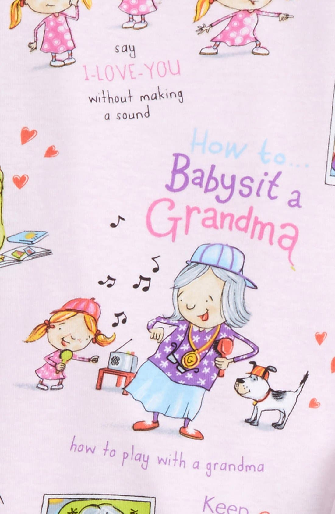 How to Babysit a Grandma Fitted Two-Piece Pajamas & Book Set,                             Alternate thumbnail 2, color,                             Pink