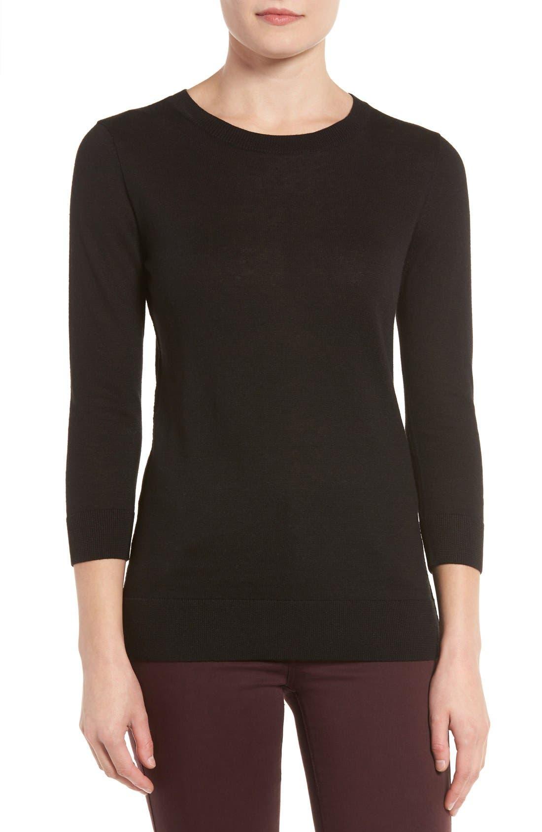 Cotton Blend Pullover,                             Main thumbnail 1, color,                             Black