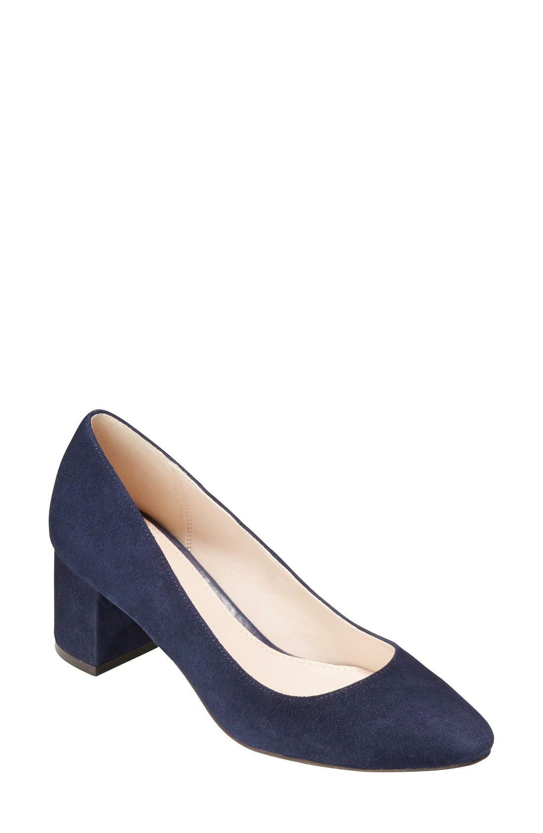 Navy Blue Block Heel Shoes Ha Heel