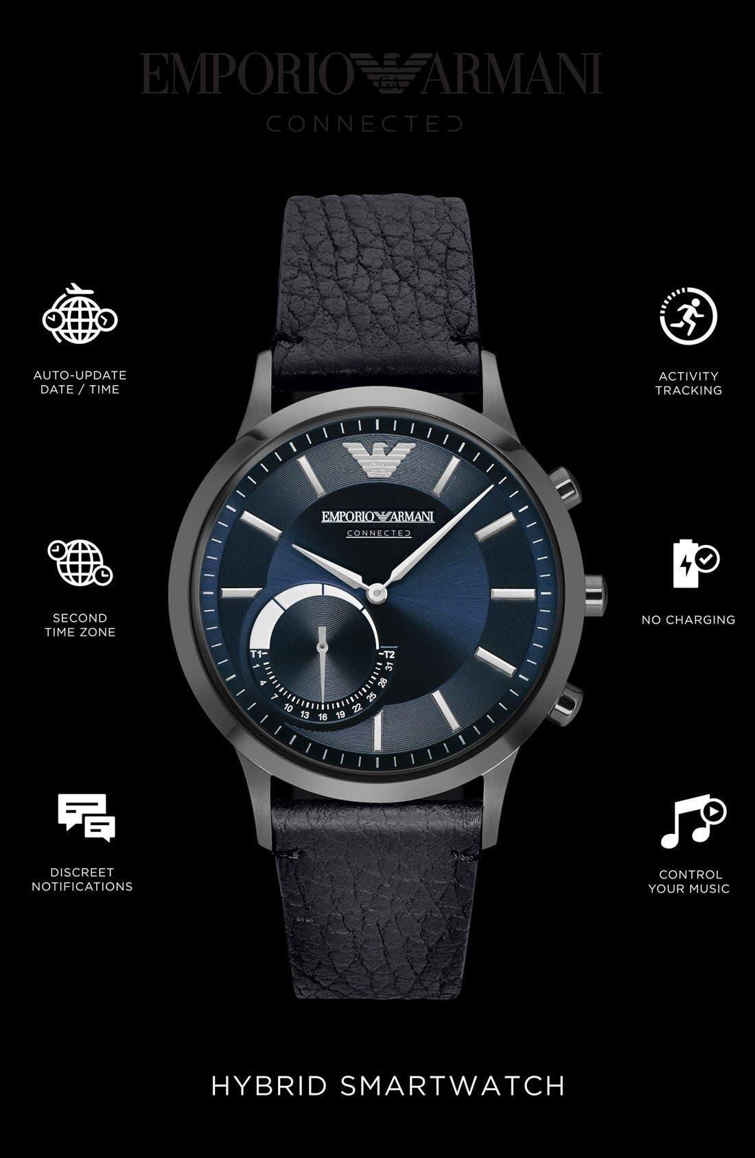 Leather Strap Hybrid Smart Watch, 43mm,                             Alternate thumbnail 4, color,                             Black/ Blue