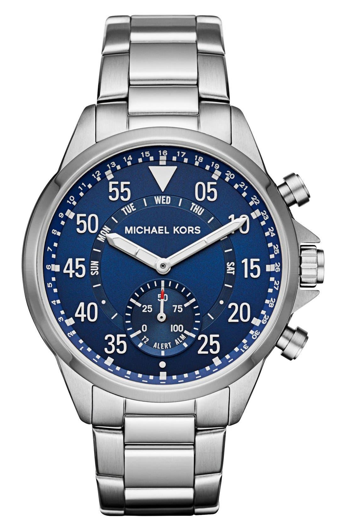Michael Kors Gage Bracelet Smart Watch, 45mm,                         Main,                         color, Silver/ Blue
