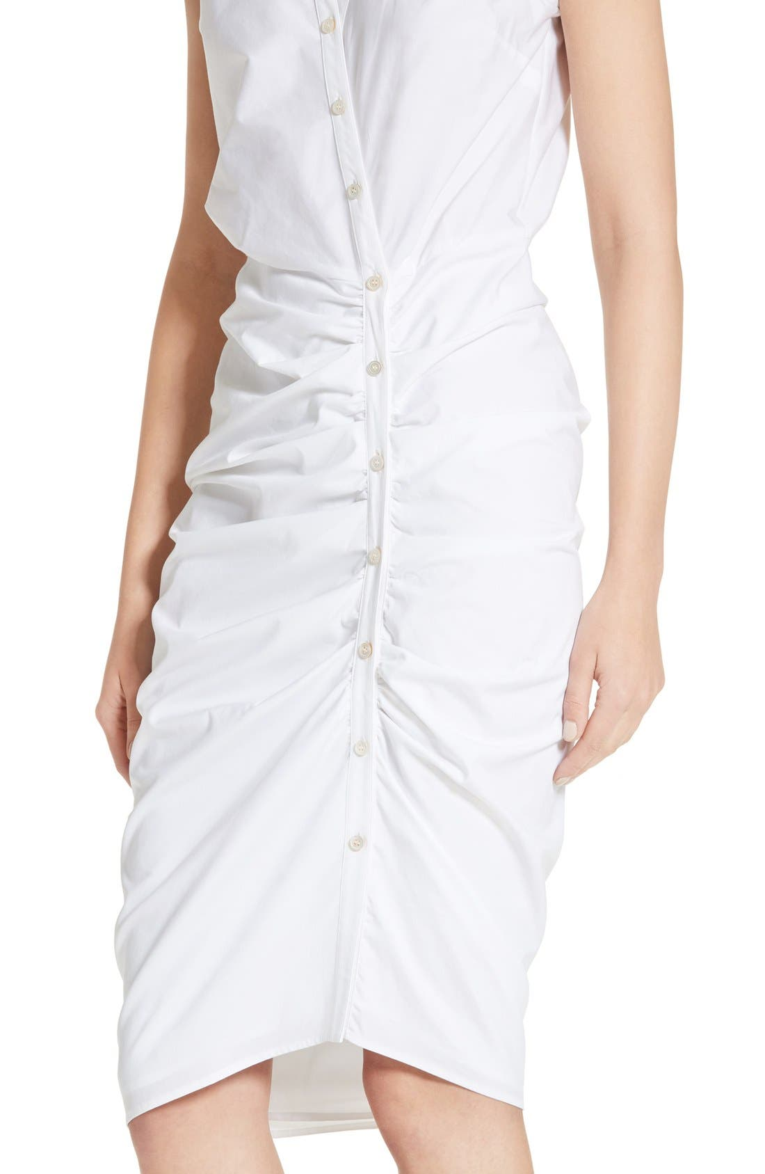 Ruched Shirtdress,                             Alternate thumbnail 4, color,                             White